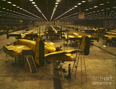 Assembling B-25 Bombers Poster by Padre Art