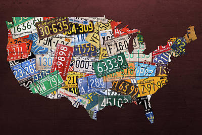 Assorted Vintage License Plates From Around America Map On Reddish Steel Poster