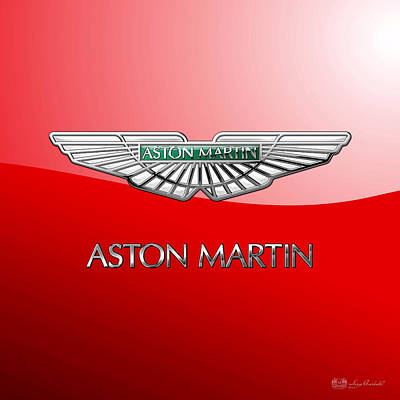 Aston Martin - 3 D Badge On Red Poster by Serge Averbukh