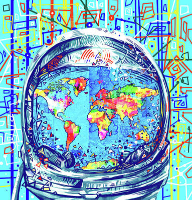 Astronaut World Map 2 Poster by Bekim Art