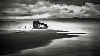 At Peter Iredale Shipwreck Mono Poster by Eduard Moldoveanu