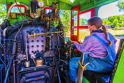 At The Controls Of Steam Engine No 3 Poster by Garry Gay