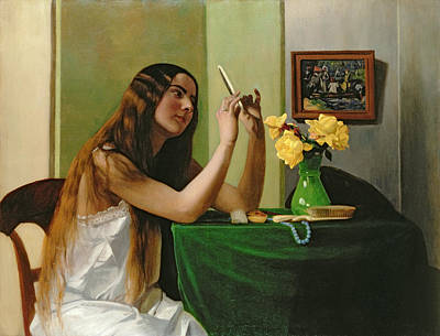 At The Dressing Table Poster by Felix Edouard Vallotton
