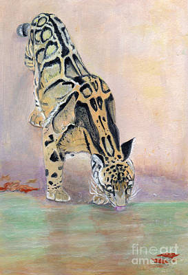 At The Waterhole - Painting Poster