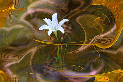 Poster featuring the digital art Atamasco Lily In Abstract by rd Erickson
