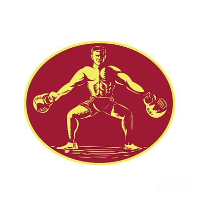 Athlete Lifting Kettlebell Oval Woodcut Poster by Aloysius Patrimonio