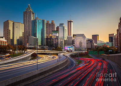 Atlanta Downtown Lights Poster by Inge Johnsson