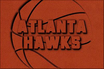 Atlanta Hawks Leather Art Poster by Joe Hamilton