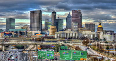 Poster featuring the photograph Atlanta Moving On Skyline Cityscape Art by Reid Callaway