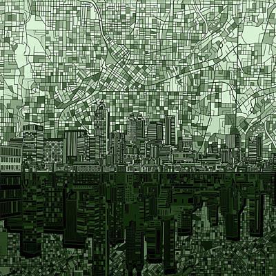 Atlanta Skyline Abstract Hunter Green Poster