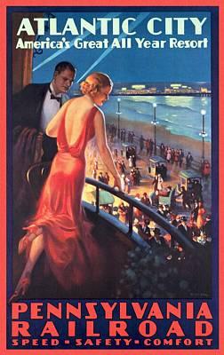 Atlantinc City - America's Great All Year Resort - Vintage Poster Restored Poster