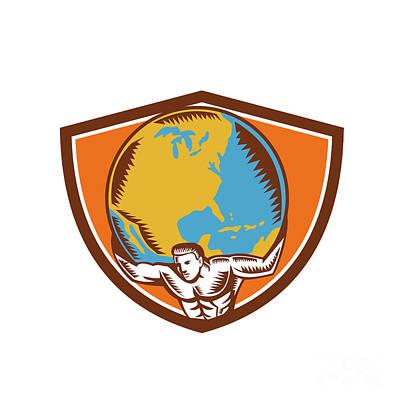 Atlas Carrying Globe Crest Woodcut Poster by Aloysius Patrimonio