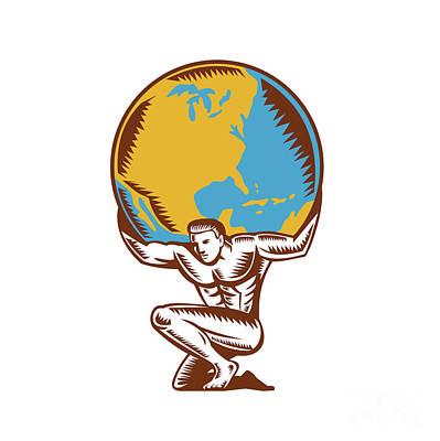 Atlas Lifting Globe Kneeling Woodcut Poster by Aloysius Patrimonio
