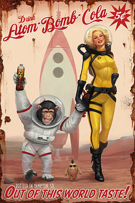Poster featuring the digital art Atom Bomb Cola - Out Of This World Taste by Steve Goad