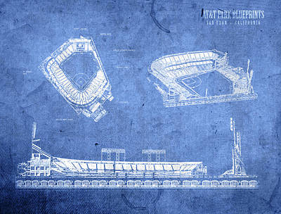 Att Park San Francisco Giants Baseball Stadium Field Blueprints Poster by Design Turnpike