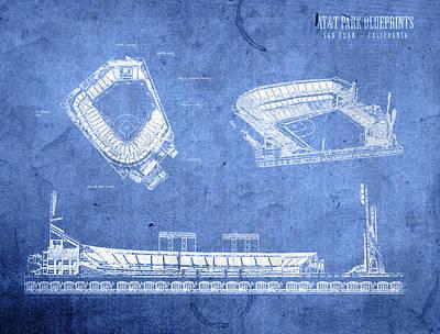 Att Park San Francisco Giants Baseball Stadium Field Blueprints Poster