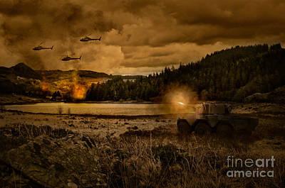 Attack At Nightfall Poster by Amanda Elwell