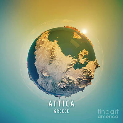 Attica Greece 3d Little Planet 360-degree Sphere Panorama Poster by Frank Ramspott