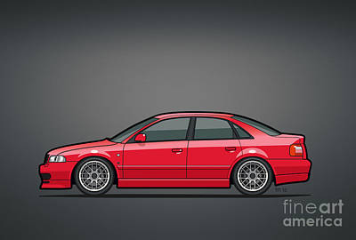 Audi A4 Quattro B5 Type 8d Sedan Laser Red Poster by Monkey Crisis On Mars