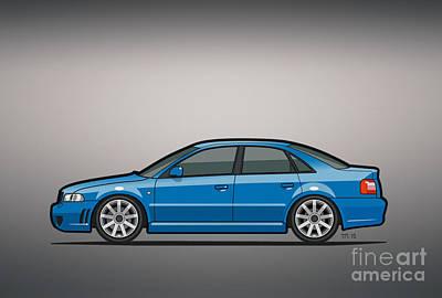 Audi A4 S4 Quattro B5 Type 8d Sedan Nogaro Blue Poster by Monkey Crisis On Mars