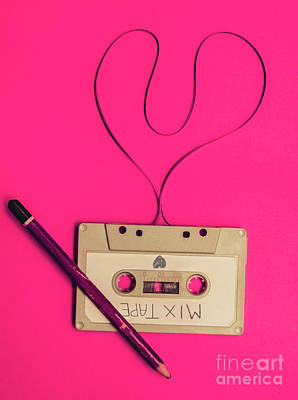 Audio Cassette With Heart Shape Tape On Pink Background Poster by Jorgo Photography - Wall Art Gallery