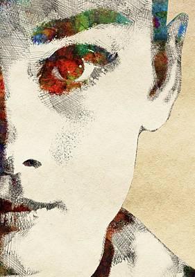 Audrey Half Face Portrait Poster by Mihaela Pater