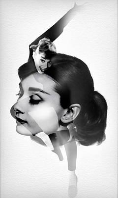 Audrey Hepburn 5 Black And White Portrait Poster