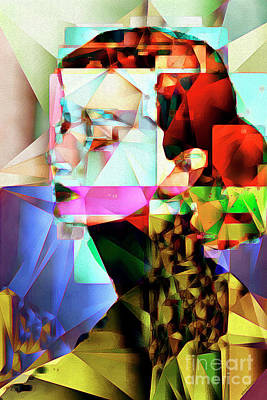 Poster featuring the photograph Audrey Hepburn In Abstract Cubism 20170329 by Wingsdomain Art and Photography