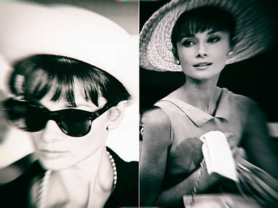 Audrey Hepburn In Black And White Poster by Georgia Fowler