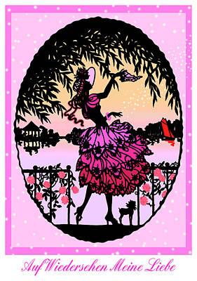 Auf Wiedersehen Meine Liebe - Vintage Illustration Poster by Rayanda Arts
