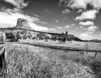 August At Wyoming Devils Tower Panorama 03 Bw Poster