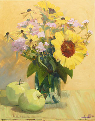 August Flowers With Apples Poster by Azhir Fine Art