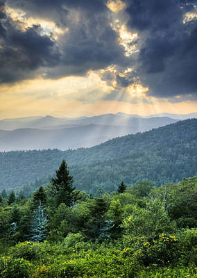 August Rays - Blue Ridge Parkway Sun Beams Poster by Dave Allen