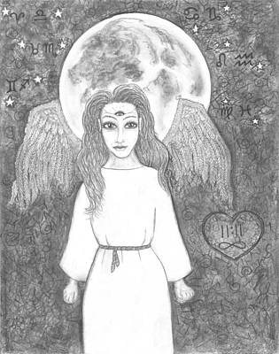 August Super Moon           Esoteric Angel 2015 Poster by Wendy Wunstell