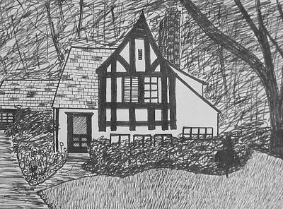 Poster featuring the drawing Aunt Vizy's House by Lenore Senior