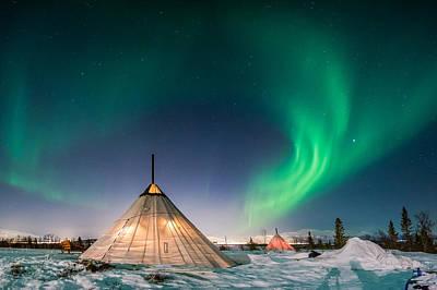 Aurora Above Sami Tent Poster by Alex Conu