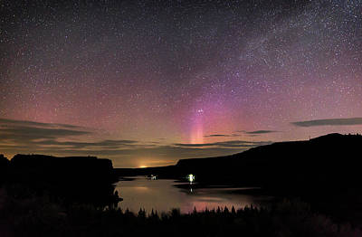 Poster featuring the photograph Aurora At Lake Billy Chinook by Cat Connor