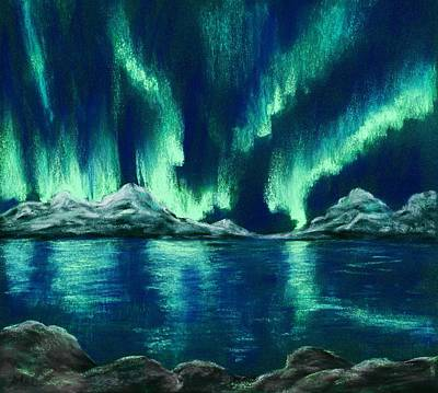 Poster featuring the painting Aurora Borealis by Anastasiya Malakhova