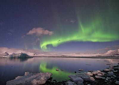 Poster featuring the photograph Aurora Borealis And Reflection #2 by Wanda Krack