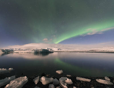 Poster featuring the photograph Aurora Borealis And Reflection by Wanda Krack