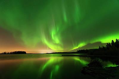 Aurora Borealis At Elk Island National Park Poster