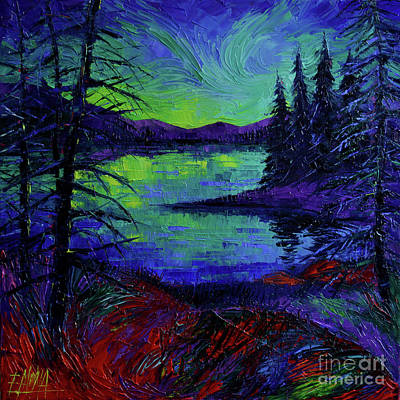 Aurora Borealis Dreamscape Modern Impressionist Palette Knife Oil Painting Poster