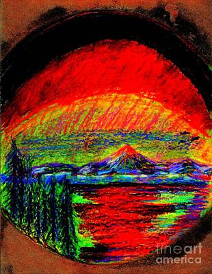 Poster featuring the painting Aurora Borealis Northern Lights by Richard W Linford
