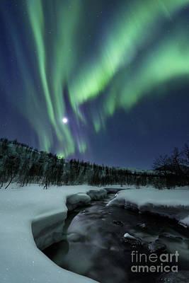 Aurora Borealis Over Blafjellelva River Poster