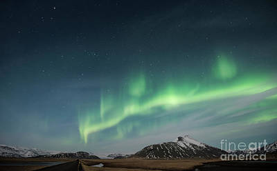Poster featuring the photograph Aurora Borealis Over Iceland by Sandra Bronstein