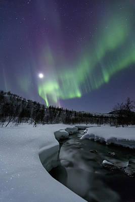 Aurora Borealis Over The Blafjellelva Poster by Arild Heitmann