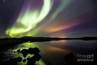 Aurora Borealis Over Thinvellir Poster