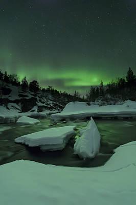 Aurora Borealis, Tennevik River, Troms Poster by Arild Heitmann