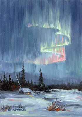Poster featuring the painting Aurora Lights by Kurt Jacobson