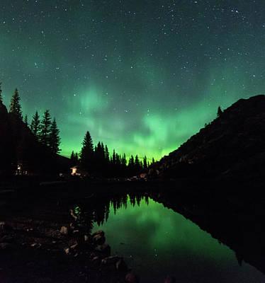Aurora On Moraine Lake Poster by Alex Lapidus
